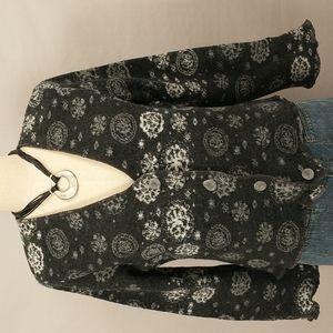 Simu Laponia Overtones Sweden Snowflake Cardigan Mod Look Quality Soft Wool Gray